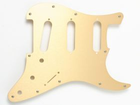 Fender Pickguard, Strat, Modern 11-Hole, Gold Anodized