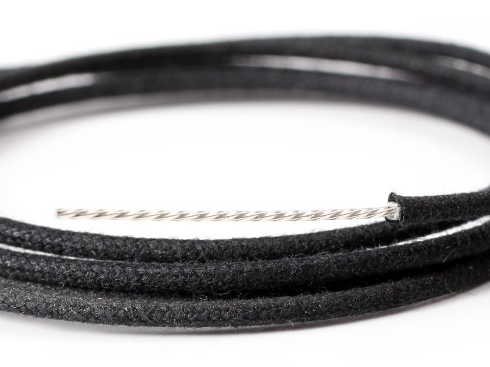 Wire, Cloth Push Back, 22 AWG Tinned Overcoat, Black