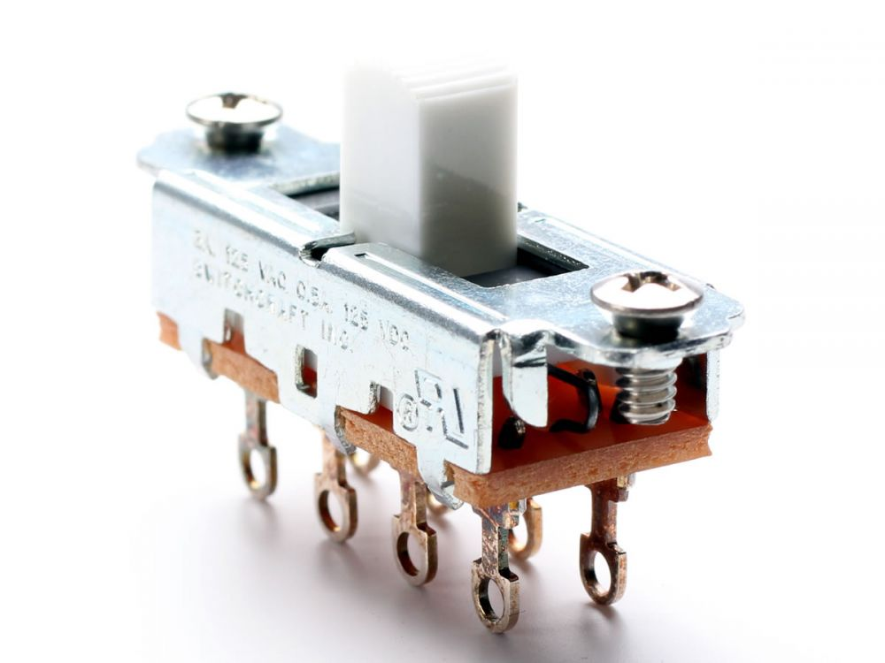 Switchcraft 3-Position Slide Switch, White (Mustang)